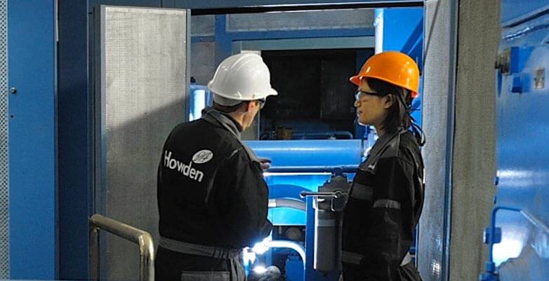Howden engineers in China looking at a Blower
